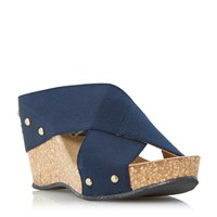 Linea Gingerbread Fabric Wedge Sandals Navy