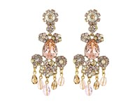 Oscar De La Renta Crystal Flower Bold C Earrings Silk