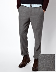 Asos Slim Fit Smart Trousers In Wool Mix Grey