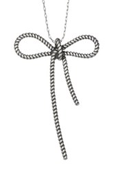 Marc Jacobs Rope Bow Pendant Necklace Metallic