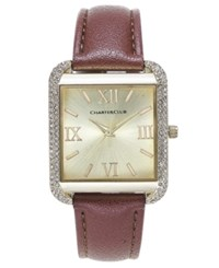 Charter Club Women's Gold Tone Brown Faux Leather Bracelet Watch 32Mm Only At Macy's