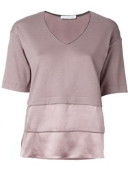 Fabiana Filippi Satin Panel T Shirt Pink And Purple