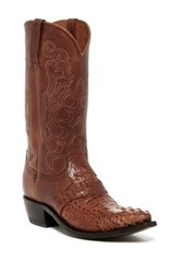 Lucchese Genuine Hornback Caiman Skin And Leather Embroidered Western Boot Brown