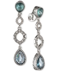 Jenny Packham Silver Tone Pave And Stone Clip On Drop Earrings