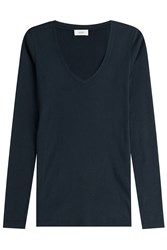 Closed Long Sleeved Cotton Blend Top Black