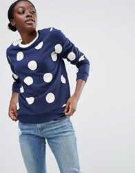 Asos Sweatshirt In Spot Print With Contrast Tipping Multi