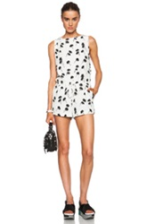 Band Of Outsiders Palm Tree Print Silk Romper In White Floral