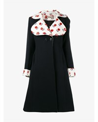 Jour Ne Wool Coat With Rose Embroidered Collar And Sleeves Navy Red White Rose Black