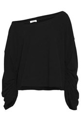 A.L.C. Ember One Shoulder French Cotton Terry Sweatshirt Black