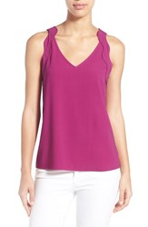 Women's Halogen Scalloped Strap V Neck Tank Purple Clover