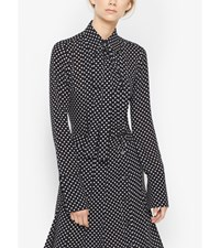 Polka Dot Silk Tie Neck Blouse Black White
