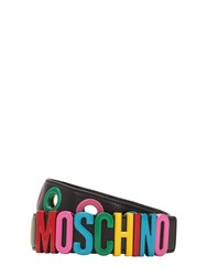 Moschino Multicolor Logo Leather Belt Black