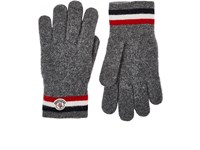 Moncler Men's Striped Cuff Virgin Wool Gloves Grey