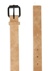 Topman Brown Washed Camel Faux Leather Belt