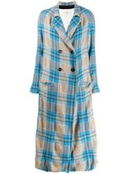 Forte Forte Check Unlined Maxi Coat Blue