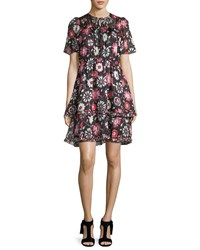 Kate Spade Casa Flora Flutter Sleeve Pleated Chiffon Dress Black