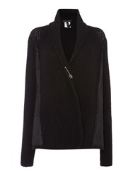 Sarah Pacini Short Cardigan With Pin Black