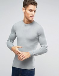 Asos Muscle Fit Cotton Crew Neck Jumper In Grey Lt Grey