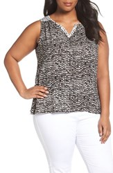 Sejour Plus Size Women's Split Neck Shell Ivory Black Print