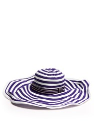 Missoni Mare Striped Cotton Blend Wide Brim Blue Stripe