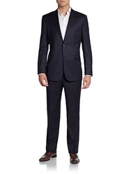Saks Fifth Avenue Black Solid Surge Wool Blend Suit Black