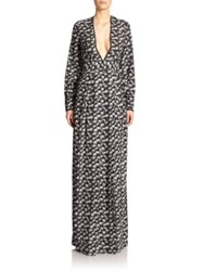 Yigal Azrouel Palm Print V Neck Gown Jet Optic