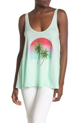 Wildfox Couture Scoop Neck Graphic Print Tank Top Aqua Diver