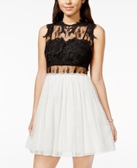 City Triangles City Studios Juniors' Embellished Contrast Illusion Lace Party Dress