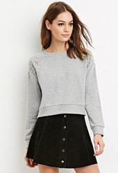 Forever 21 Heathered Rhinestone Embellished Pullover Grey Clear