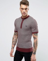 Fred Perry Laurel Wreath Jumper Short Sleeve Two Colour Texture Knit Grandad In Maroon Navy Maroon Red