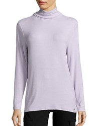 Imnyc Isaac Mizrahi Solid Long Sleeve Pullover Purple