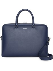 Burberry London Leather Briefcase Blue