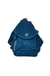 Manu Atelier Mini Fernweh Suede Backpack Blue