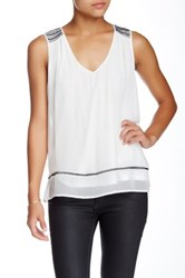 Ella Moss Sleeveless Embroidered Tank White