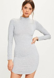 Missguided Grey Curve Hem High Neck Bodycon Rib Dress
