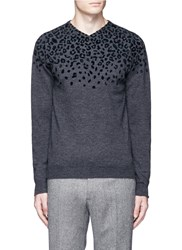 Kolor Leopard Velvet Flock Print V Neck Sweater Grey