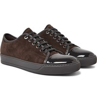 Lanvin Cap Toe Suede And Patent Leather Sneakers Dark Brown