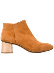 Silvano Sassetti Mid Heel Ankle Boots Women Leather Suede Rubber 38 Nude Neutrals