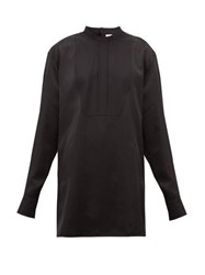 Jil Sander Thursday P.M. Bib Front Satin Shirt Black