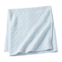 Sofia Cashmere Angel Cable Knit Baby Throw Blue