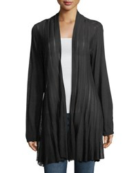 Chelsea And Theodore Plus Shadow Striped Open Front Cardigan Black