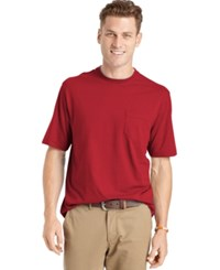 Izod Men's Big And Tall Solid Double Layer Jersey Pocket T Shirt Glossy Red