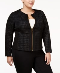 Calvin Klein Plus Size Houndstooth Moto Jacket Black