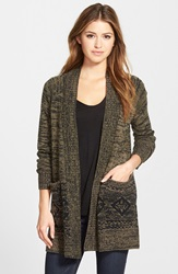 Caslon Open Front Patterned Cardigan Olive Black Diamond Pattern