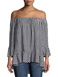 Beach Lunch Lounge Plaid Ruffled Top Black
