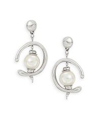 Uno De 50 Inorbit Pearl Drop Earrings Silver