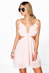 Boohoo Strappy Plunge Front Open Back Skater Dress Blush