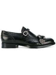 Gucci Queercore Brogue Monk Shoes Black