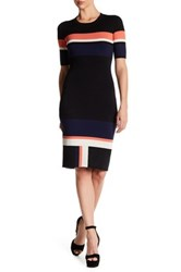 Rachel Roy Striped Knit Bodycon Dress Orange