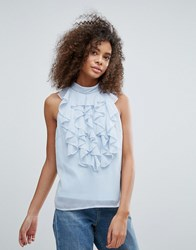 Traffic People High Neck Top With Ruffle Detail Blue